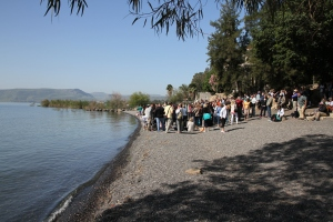 Having Church on the shore of the Sea of Galilee on the grounds of the Church of the Primacy of Peter.