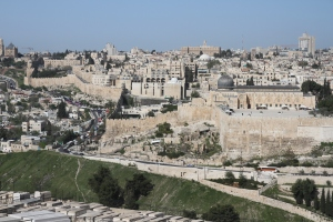 Zoomed-in view of the southern side of Jerusalem.  Shot 1 of 4 with each panning a little further to the north.