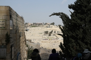 View from inside the Jewish Quarter toward the south end of the Mount Moriah with was also the Temple Mount