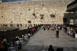 Wailing wall which is actually a portion of the old Temple was that has been rebuilt as part of the Muslim Dome of the Rock structure.  Women side on the right and men on the left.