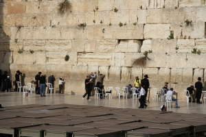 View of the men's side of the Wailing Wall.  People utter prayers, write them on pieces of paper, and then stick them into cracks in the wall.  We even found some around on the south side of the wall.