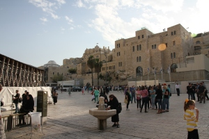 View of the courtyard in front of the Wailing Wall.