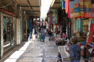 Typical street scene in the Old City.  The Old City is inside the walls and it is divided into four quarters - the Jewish, Armenian, Catholic, and Muslim.