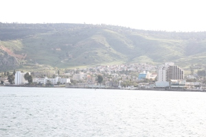 View back at Tiberius from out on the Sea of Galilee.