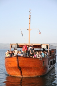 One of our tour boats on the Sea of Galilee.