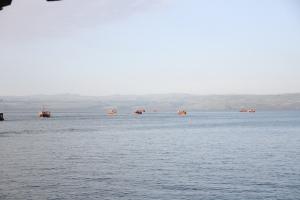 The fishing fleet returning at days end to Tiberius.