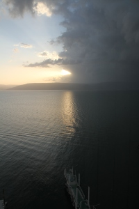 Remnants of the morning shower that rolled across Tiberius and the Sea of Galilee at daybreak.