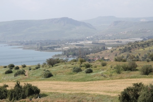 View southeast from the Mount of Beatitudes.  Mount Arbel is the peak just left of top center.