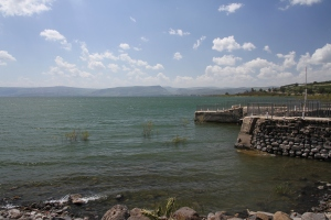 The shore of the Sea of Galilee in Capharnaum.