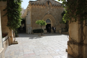 "This is the Stone Pavement where Pilate tried to release Jesus.  He brought Jesus out wearing a crown of thorns and wearing a purple robe.  But the crowd, incited by religious leaders, shouted, ""Crucify Him! Crucify Him!"""