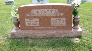 "Gravestone of Mom's Grandparents, Charles Washington ""Wash"" Wyatt and Julia Pearl Edmonston Wyatt."
