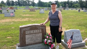 Mom at her Mother's Grave in the Harvey's Chapel cemetery.  Her mother was Lorene Zelma Wyatt Pickler.