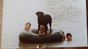 Bo. the black Labrador retriever, loved to play king of the inner tube - and he often won.