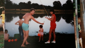 Fishing on the big pond at Pick's Pond in 1985