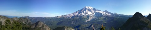 Panorama view of Mount Rainier taken from the top of Plummer Peak.