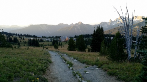 The visitor center and parking lot at Sunrise on the northeast side of Mount Rainier.