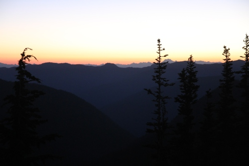 Boosting my exposure brought distant peaks in the Cascade range into relief against the brightened sky.