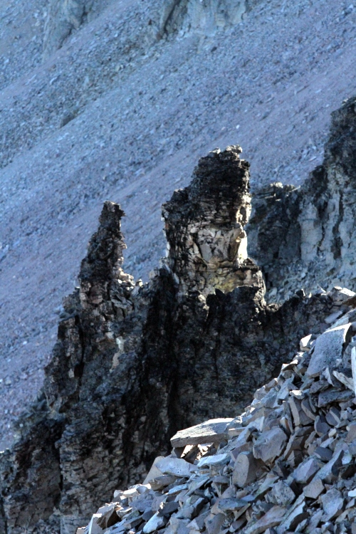 Interesting rock formations on the north side of Burroughs Mountain.