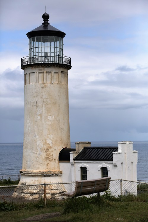 "Cape Disappointment, North Head Lighthouse. The ""youngest"" of the two lighthouses. Only 118 years old. Warned ships coming from the north of the dangerous Columbia River mouth and shoals."