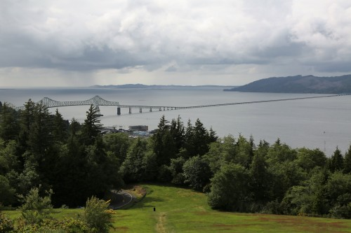 A wider view from the Astoria Column out the mouth of the Columbia River. Cape Disappointment, Washington in the far distance.