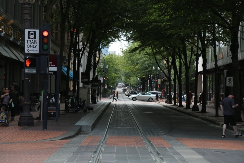 The MAX lightrail system in Portland.