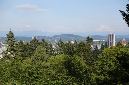 The Japanese Garden is located inside Washington Park on the slopes west of the city of Portland. From here you can look across downtown Portland to Mount Hood.