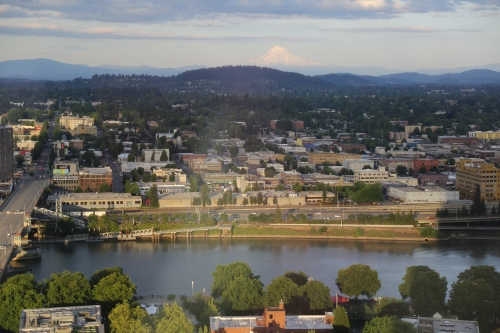 View over the Willamette River toward Mount Hood. This was from the City Grille on the 30th floor of a bank building.