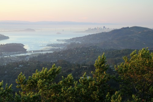 San Francisco just after sunrise viewed from the side of Mt Tamalpais