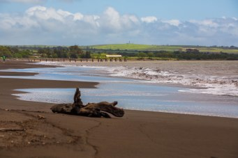 Waimea Beach. Wai means fresh water. Mea means red. The name is for the river which runs red after heavy rains from the high iron content in the soil. Obviouslly the waters off the beach experience this too. The sand itself is a mixture of black, green, red, and grey sand. It is not dirty at all.