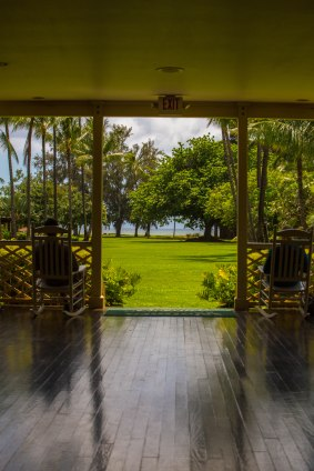 View through the entrance of the Waimea Plantation, an old sugar cane plantation turned into a resort.