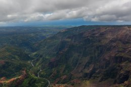 Down the Waimea Canyon to he sea. Notice the lookout on the plateau on the center right.