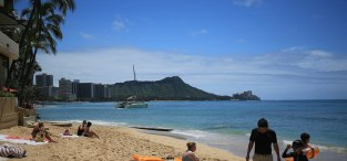 View along Waikiki Beach toward Diamond Head from our hotel beach.