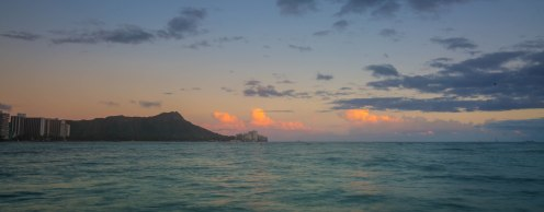 View of Diamond Head Crater at sunset from our pier.