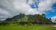 Kualoa Ridge. This ridge and the next 3 or 4 valley are all part of the Kualoa Ranch.